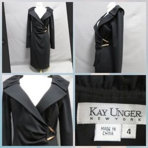Kay Unger embellished faux wrap dress